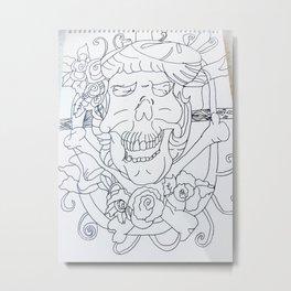 Black and white skull Metal Print