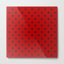 Navy Blue Stars Pattern on Red Background Metal Print