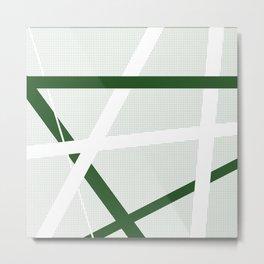 Green Criss Cross Halftone Metal Print