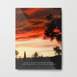 Serenity Prayer Sunset Red Clouds Metal Print