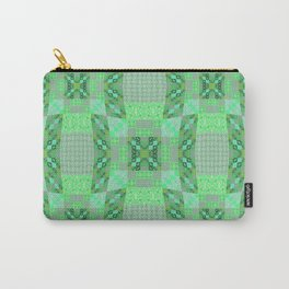 Adorable Geometric Quilt in Retro Lime and Grey Carry-All Pouch