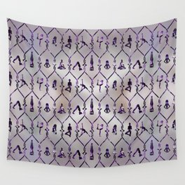 Amethyst Yoga Asanas pattern on mother of pearl Wall Tapestry