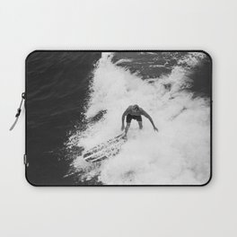 Black and White Wave Surfer Laptop Sleeve