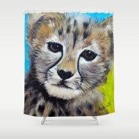 cheetah Shower Curtains featuring Cheetah by A Calcines