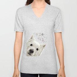 Curious American Eskimo Dog Unisex V-Neck