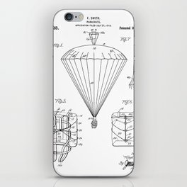 Parachute Patent - Sky Diving Art - Black And White iPhone Skin