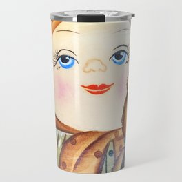 Matrioska. Little girl with teddy bear. Travel Mug
