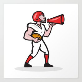 American Football Quarterback Bullhorn Isolated Cartoon Art Print