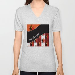 Bright colorful abstract pattern in red and black colours . Patchwork . Unisex V-Neck