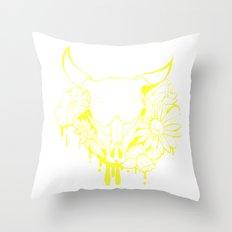 Flower Power Skull Throw Pillow