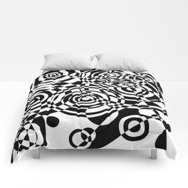 Raindrops 2 Black and White Geometric Painting Comforters
