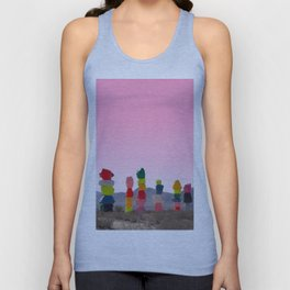Seven Magic Mountains with Pink Sky - Las Vegas Unisex Tank Top