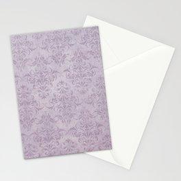 Vintage chic violet lilac floral damask pattern Stationery Cards