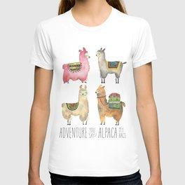 Llama Alpaca Adventure Print Funny Cute Animal Watercolor Tribal Woodland Travel Peru Baby Decor T-shirt