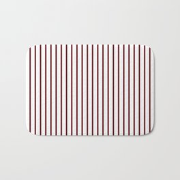 Royal Rose Red Pinstripe on White Bath Mat