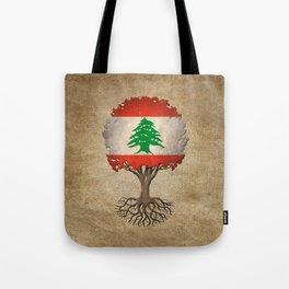 Vintage Tree of Life with Flag of Lebanon Tote Bag