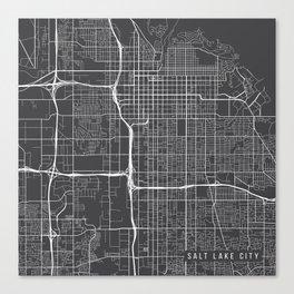 Salt Lake City Map, USA - Gray Canvas Print