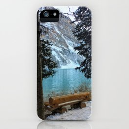 A quiet bench on Lake Louise iPhone Case