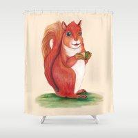 squirrel Shower Curtains featuring Squirrel by Yana Elkassova