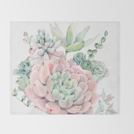 Pink Succulent by Nature Magick Throw Blanket