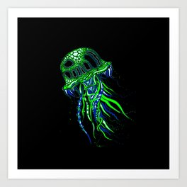 Jellyfish drawing | Colorful Art | Blue and Green | Black background Art Print