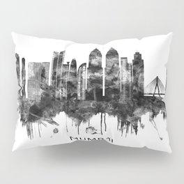 Mumbai India Skyline BW Pillow Sham