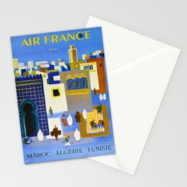 North Africa Tunisia Morocco Algeria Vintage Travel Poster Colorful Mid Century Commercial Advertisement Stationery Cards