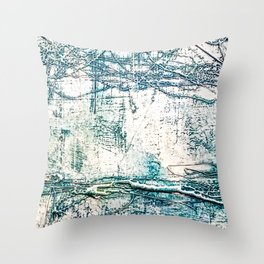 Subtle Blue Textured Acrylic Painting Throw Pillow