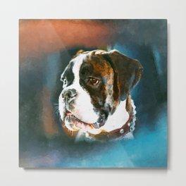 Boxer Dog Portrait  Watercolor Digital Art Metal Print