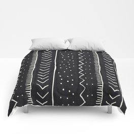 Moroccan Stripe in Black and White Comforters