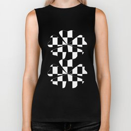 Black White Checker Biker Tank