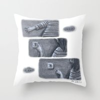 nope Throw Pillows featuring ...Nope... by Jia Guo