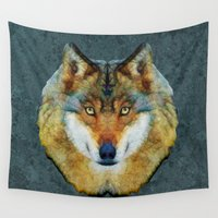 polygon Wall Tapestries featuring polygon wolf by Ancello