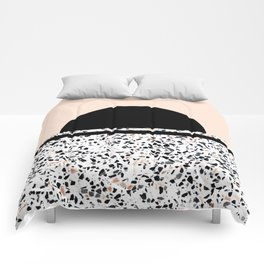 Terrazzo Stone Pattern Black and Orange Peach Comforters