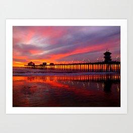Sunset At The Pier * Huntington Beach, California Art Print