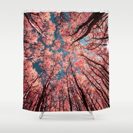 Upward Glance Living Coral Trees Blue Sky Shower Curtain