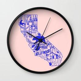 California Wycinanki Pink and Blue Wall Clock