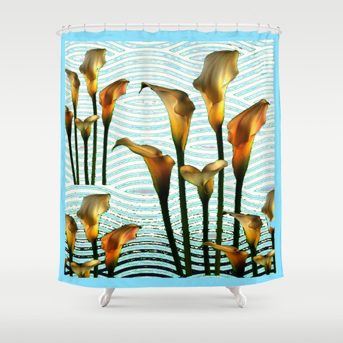 Blue Swamp Calla Lilies Shower Curtain By Sharlesart