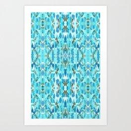 Aquamarine Turquoise Ocean Blue Pattern Art Print
