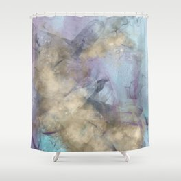 Teal, Purple, Gold Geode Shower Curtain