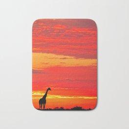 Giraffe at a sunrise in Namibia Bath Mat