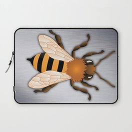 Bee over Brushed Steel Background Laptop Sleeve