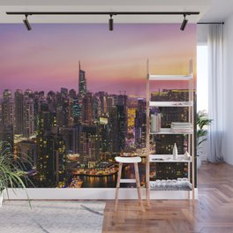 Skyline Jumeirah Lake Towers, Dubai, United Arab Emirates at Dusk Wall Mural