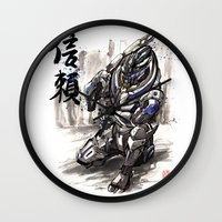 garrus Wall Clocks featuring Garrus from Mass Effect sumie style with Japanese calligraphy by mycks