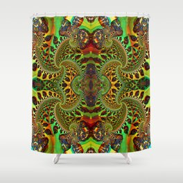 Psychedelic Fractal Geometry - different perspective Shower Curtain