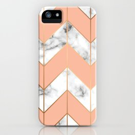 WHITE MARBLE WITH GOLD AND ROSE CHEVRON iPhone Case