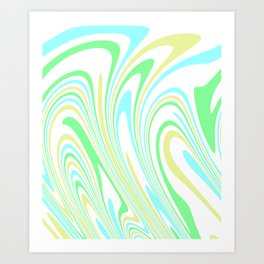 Blue, Yellow, and Green Waves 2 Art Print