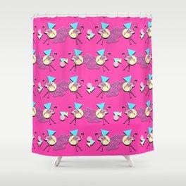 80s Flamingos Shower Curtain