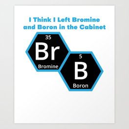 I Think I Left Bromine And Boron In The Vabinet BRB Art Print