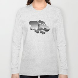 Nashville Downtown in Black and white Long Sleeve T-shirt